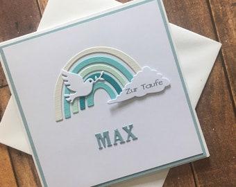 "Card for baptism ""Rainbow"" pastel and aqua tones, baptismal card customizable"
