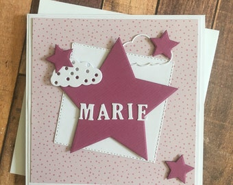 """Card for birth """" Berry star"""", card for baby personalized"""