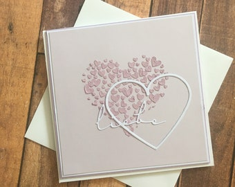 """Greeting card """"Love"""" for the wedding, wedding card with hearts"""