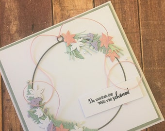 """Greeting card """"You make the world much more beautiful"""", homemade"""