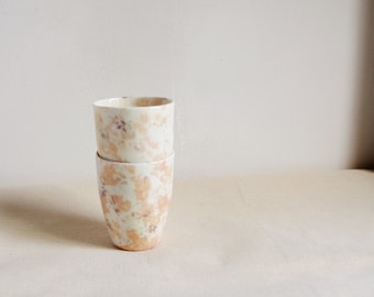Two porcelain espresso or tea cups terazzo marble