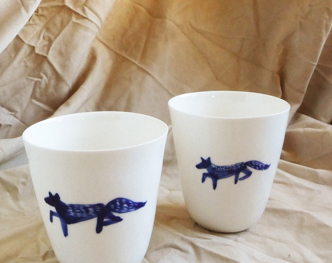 Featured listing image: Two porcelain coffee or tea cups with fox