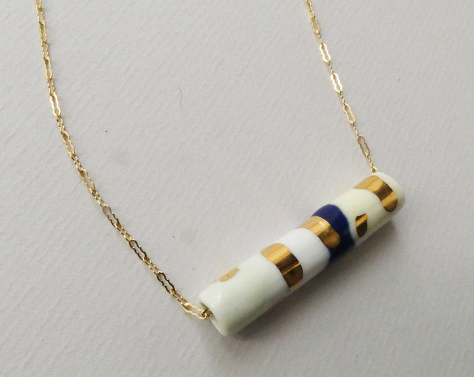 Featured listing image: Necklace with porcelain pendant decorated with gold