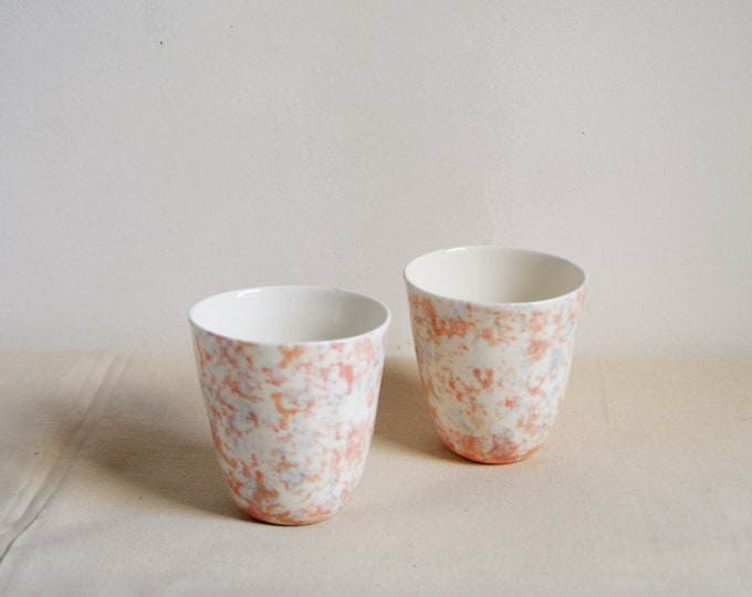 Featured listing image: Two porcelain coffee or tea cups with terazzo / marble pattern