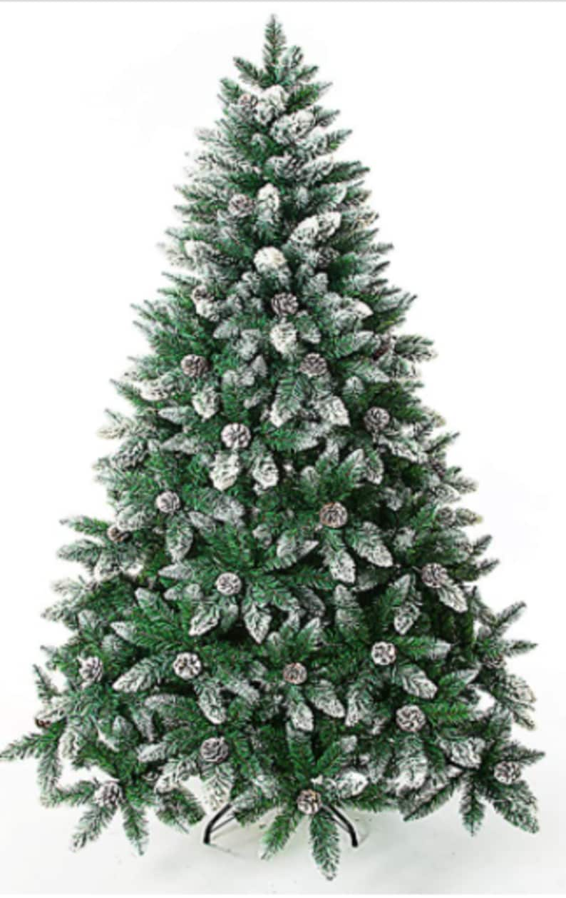 Artificial Christmas Tree Foot Flocked Snow Trees with Pine Cone Decoration Unlit