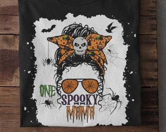 Spooky mama messy bun shirt,One spooky mama shirt, funny halloween shirts for women, halloween 2021 shirt ,woman halloween shirt
