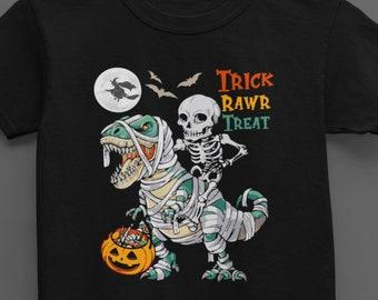 Kids Halloween tshirt, Trick Rawr Treat Shirt,Trick or Treat Dinosaur Shirt, dinosaur with pumpkin, halloween toddler outfit