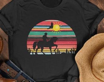 Serape cowboy, serape shirt, cowboy riding horse shirt, desert cactus sunset t shirt