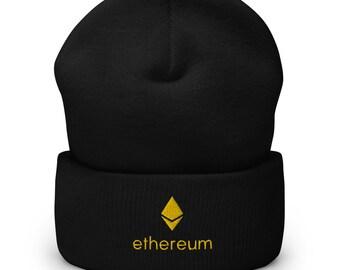 Ethereum beanie, Ethereum Cuffed Beanie, Crypto beanie, Cryptocurrency beanie, embroidered beanie, Gift for Crypto Trader