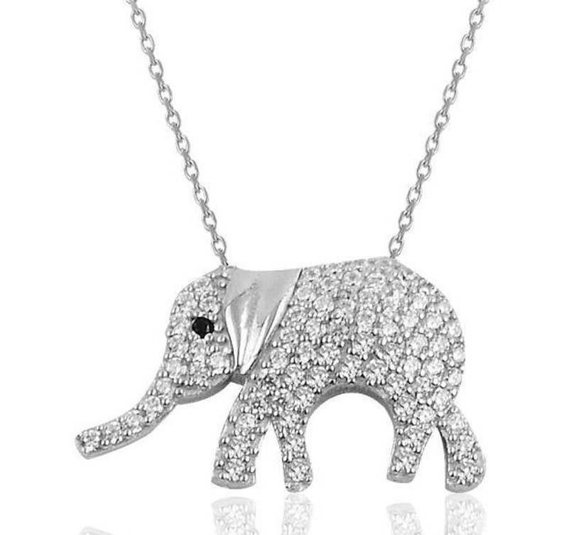 Great Gift!!!Silver zircon stone Elephant necklace