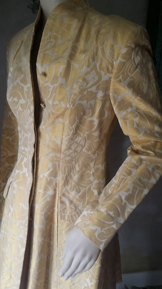 Fabulous Scott Crolla 80s Silk Damask frock coat