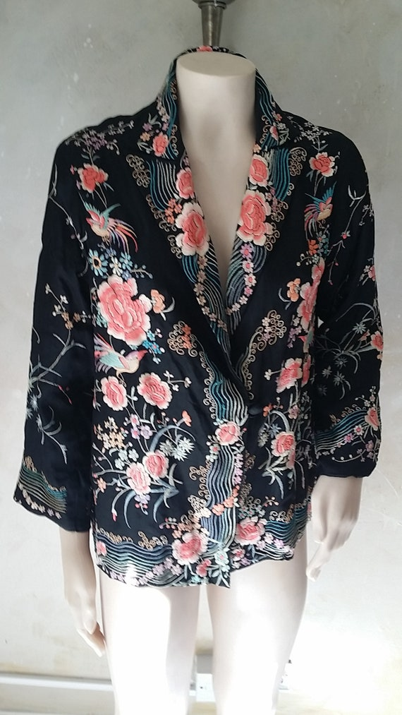 1920s Embroidered Chinese  Silk Jacket