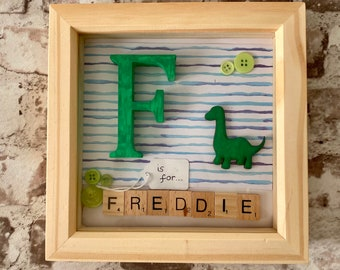 dinosaurs and spaceships Boys personalised birthday scrabble frame gift