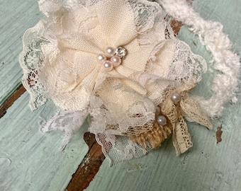 Teal Flower Headband m2m Dollcake Floral Headband Turquoise Burlap Lace Floral Hair Clip Teal Vintage Baby Girl Headband Aqua Bows