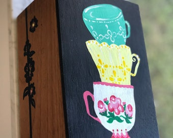 Luxury box,Table decor box,Tea chest,Rectangular box,Tea caddy,Oriental style,Gold leaves,Black is beautiful,Box unique,Tea lover gift