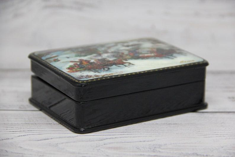 Troyka Handmade Russian Lacquer Box Gift Box Home decor Fedoskino Art Painting School Jewelry Box