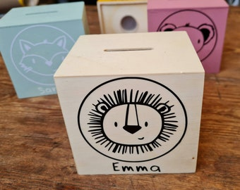 Wooden spar box / money box - personalized - with name and animal motif, baby child, birthday, birth School enrollment Gift baptism - Marloni