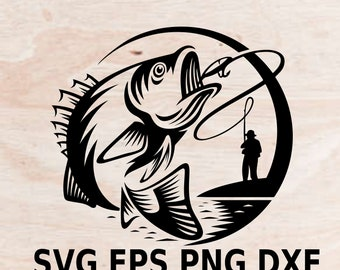 Bass Jumping fish SVG,EPS, PNG, fishing svg, Bass Fishing Clipart, Fish svg, split fish svg, fish monogram svg, fish Cricut file