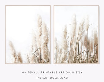 NEUTRAL WALL ART A4 PAMPAS GRASS PRINT GALLERY WALL PRINTS
