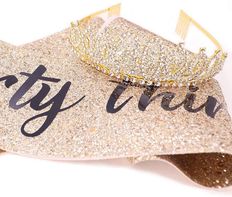 Dirty Thirty Sash Rhinestone Tiara Set 30th Birthday Gifts Birthday Women Favors Birthday Party Supplies Gold Glitter with Black Lettering