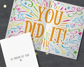 """Congratulations Card """"So Proud of You - You Did It!"""" Well Done, You Smashed It, You Passed, Passed Exams, Passed Test, Congratulations Gift."""