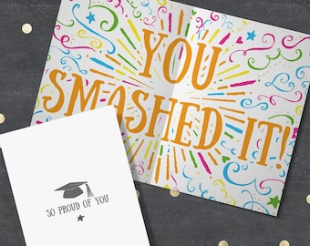 """Graduation card. """"So Proud of You - You Smashed It!"""" Finished University, Well Done Card, You Did It Card, Congratulations Gift."""