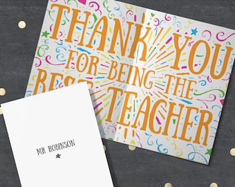 Thank You Teacher Card - Personalised Teacher Card, Best Teacher Card