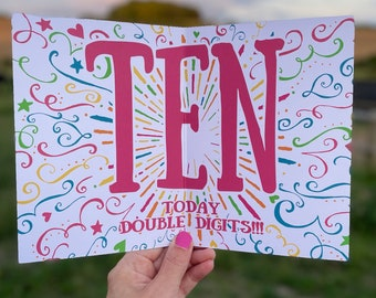 10th Birthday Card, Girl's Personalised 10th Birthday Card, 10th Birthday Daughter, 10th Birthday, Granddaughter, Sister. Niece. 10th. 10.