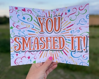 """Congratulations card. """"So Proud of You - You Smashed It!"""" Well Done Card, You Did It Card, Passed Exams, Passed Test, Congratulations Gift."""