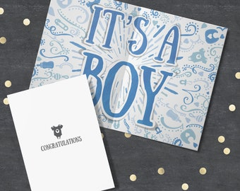 """New Baby Card """"Congratulations It's a Boy"""". Congratulations New Baby Boy Card, Baby Boy Card, New Baby Card, Baby Reveal, Baby Shower"""