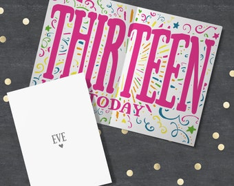 13th Birthday Card, Girl's Personalised 13th Birthday Card, 13th Birthday Daughter, 13th Birthday, Granddaughter, Sister. Niece. 13th. 13.