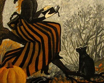 Witch's Story 4x6 Halloween Witch Black Cat Ryta Print of Original by artist whimsical home decor seasonal Autumn decoration wall art