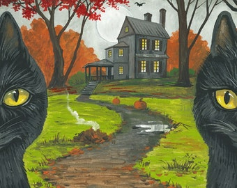 ACEO Invitation RYTA Halloween Black Cat Haunted House Autumn Fall seasonal witch Salem interior home house design decor decoration art bat