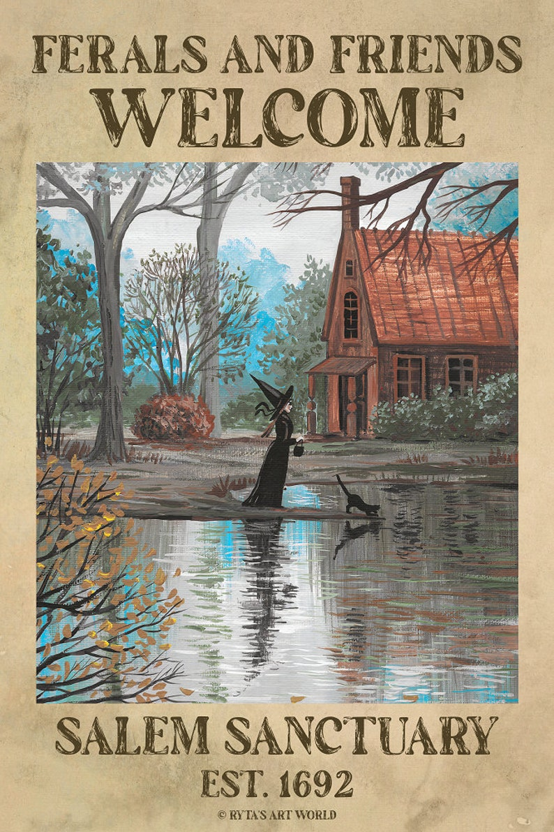 POSTER Lake Bewitched RYTA Feral Familiars Salem Sanctuary Black Cat Halloween Autumn Fall bat witch fine wall art horror frightening spooky