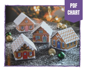 Gingerbread cottage cross stitch chart/gingerbread house/cross stitch pattern/instant pdf download/3D cottage cross stitch