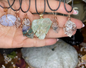 Wire Wrapped Crystal Necklaces