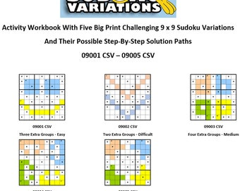 01-05 Activity Workbook Challenging Sudoku Variation Direct Download Big Print Educational Fun Game Students Homeschoolers Adults Seniors