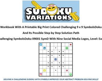 01 Activity Workbook SymbolsDoku Challenging Direct Download Big Print Educational Fun Family Game Students Homeschoolers Adults Seniors