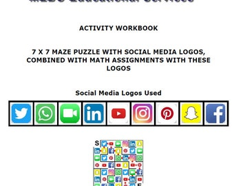 Symbols Maze Puzzle with Social Media Logos, Combinend with Math Calculations with These Social Media Logos