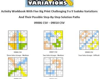 06-10 Activity Workbook Challenging Sudoku Variation Direct Download Big Print Educational Fun Game Easy Medium Difficult Students Seniors