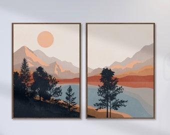 Mid Century Sun and Mountains, Sunset Print Set of 2, Terracotta Wall Art, Above Bed Decor, Boho Landscape Art, Lake Print, Digital Download