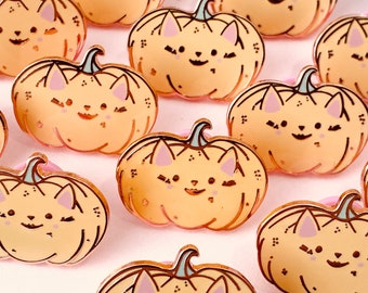 Cat Pumpkin Enamel Pin, Board Filler Pins