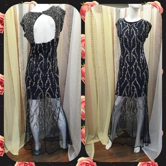 20's 30's Flapper Dress Art Deco Sequin Bead Dress