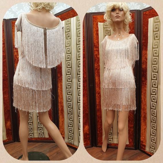 20's 30s Flapper Dress Nude Gold Charleston Dress