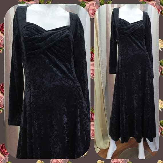 Black Velvet Dress Vintage Crushed Velvet Dress Bi