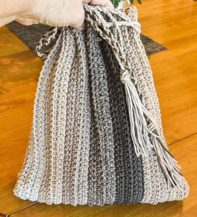Ombre taupe and brown hand crocheted shoulder bag or purse stretchy cotton Boho bag and 3 deep 12 tall Fully lined 12 wide