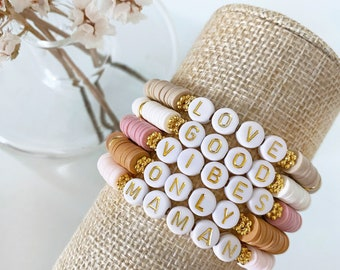 Heishi pearl bracelet to customize - Golden letters - elastic or adjustable - Collection M o o r e a