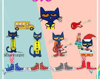 Pete The Cat Svg Etsy