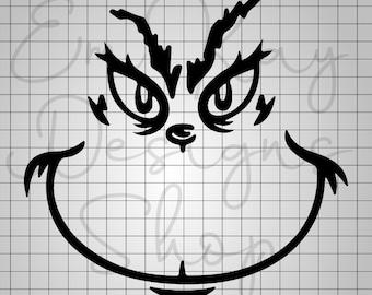 Grinch Face SVG, Grinch, Grinch Ornament, Grinch Smile, Christmas SVG, Cricut, Silhouette, Digital Download, png, svg, eps, pdf, jpeg