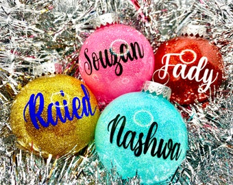 Glitter Ornaments, Personalized, Custom, Customized, Name Ornament, Monogram, Family, Ornament Sets, Colorful, Holidays, Christmas